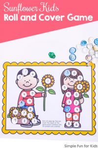 Practice number recognition and taking turns with this cute Sunflower Kids Roll and Cover Game! Day 7 of the 7 Days of Sunflower Printables for Kids series.