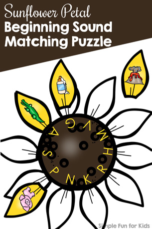Sunflower Petal Beginning Sound Matching Puzzle Printable