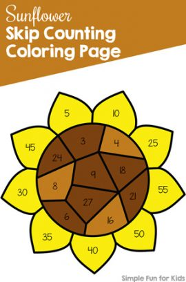 Sunflower Skip Counting Coloring Page
