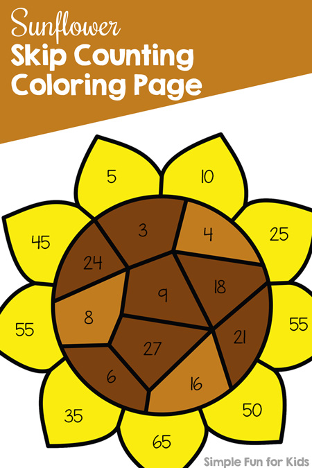 Practice multiples of 3, 4, and 5 with this fun Sunflower Skip Counting Coloring Page! Day 6 of the 7 Days of Sunflower Printables for Kids.