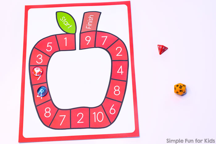 image relating to Printable Addition Games named Addition and Subtraction in just 20 Apple Board Match - Straightforward