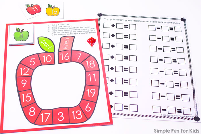 image relating to Addition and Subtraction Games Printable referred to as Addition and Subtraction in 20 Apple Board Activity - Straightforward