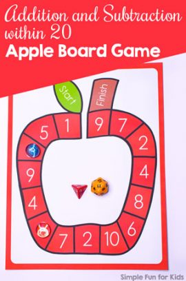 Addition and Subtraction within 20 Apple Board Game