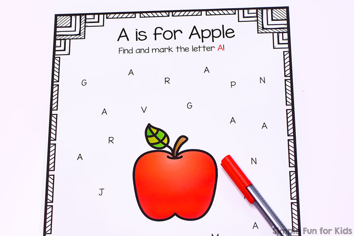 Learn about the letter a with this no prep printable A is for Apple Letter Find! Perfect for anyone learning their letters, from toddlers to preschoolers and kindergarteners.