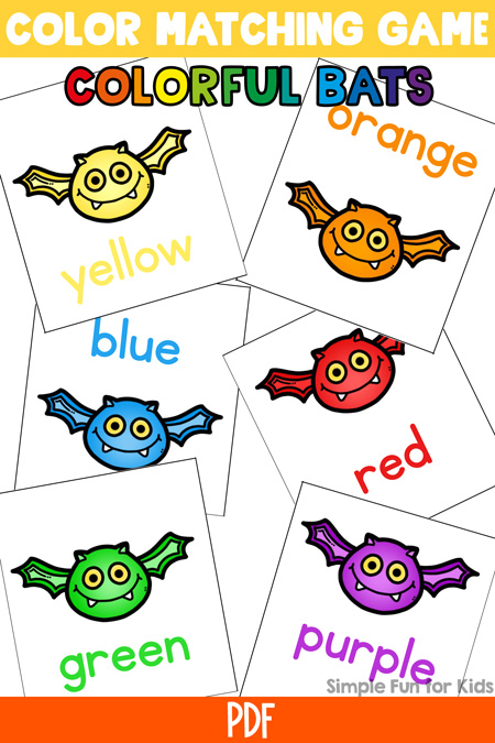 This simple printable game is so much fun for my two-year-old: Bat Color Matching Game for Toddlers!  Perfect for Halloween (non-scary!) or any time of the year!