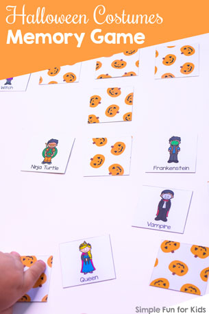 Halloween Costumes Memory Game Printable