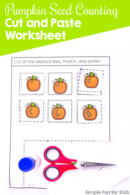 Cutting and pasting makes learning anything more fun! This cute printable Pumpkin Seed Counting Cut and Paste Worksheet is great for preschoolers and kindergarteners practicing counting and recognizing numbers 1-6.