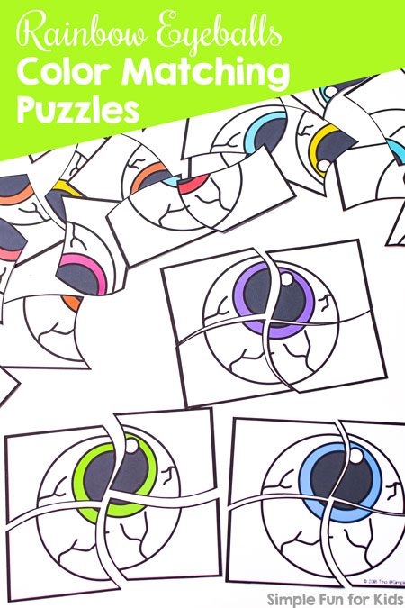 Practice colors and fine motor skills with a Halloween theme and these cute Rainbow Eyeballs Color Matching Puzzles! Perfect for toddlers and preschoolers.
