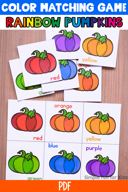 Toddlers can learn and review colors with this printable Rainbow Pumpkin Color Matching Game! Simple, large cards and just a few matches, perfect for little hands and minds.