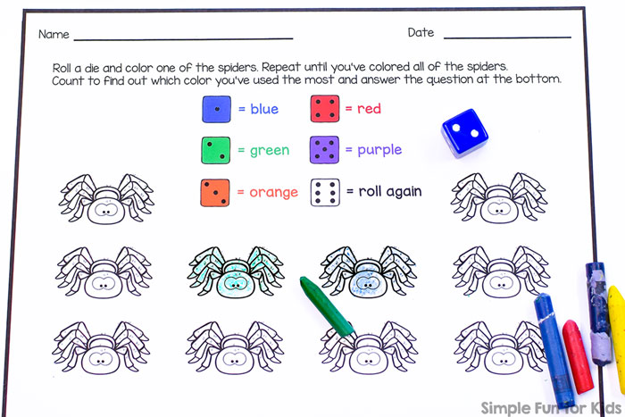Practice counting and colors with this cute no prep spider roll and color worksheet! Perfect for Kindergarten math centers, homework, or early finishers.