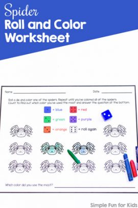 Spider Roll and Color Worksheet Printable