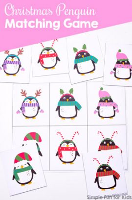 Christmas Penguin Matching Game for Toddlers