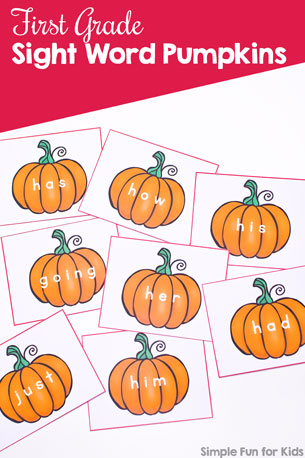 First Grade Sight Word Pumpkins Printable