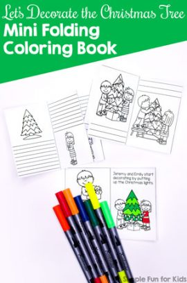 Let's Decorate the Christmas Tree Mini Folding Coloring Book Printable