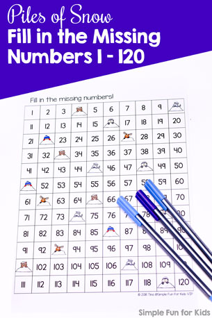 Practice number skills with a cute 120 board: Piles of Snow Fill in the Missing Numbers 1-120. No prep, quick printable first grade activity. CCSS.MATH.CONTENT.1.NBT.A.1