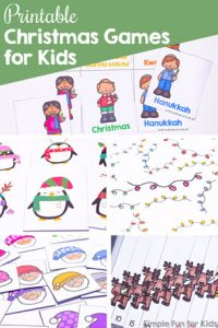 Looking for printable Christmas games for your kids? I've got 20+ for you to choose from! For anyone from toddlers to preschoolers, kindergarteners, and elementary students. Includes puzzles, matching games, board games, I spy games, bingo, and more.