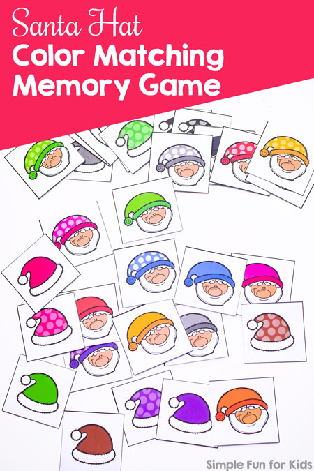picture about Santa Hat Printable identified as Santa Hat Colour Matching Memory Activity - Very simple Enjoyment for Youngsters