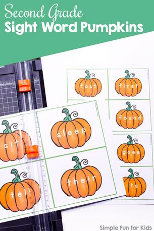 Second Grade Sight Word Pumpkins