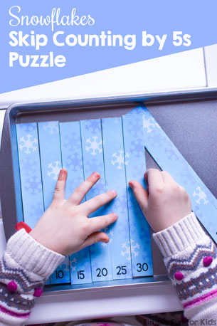 Practice skip counting and explore multiples of 5 with these cute printable Snowflakes Skip Counting by 5s Puzzle for kindergarteners and first graders.
