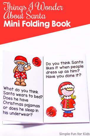Make your own printable Things I Wonder About Santa Mini Folding Book with fun questions to use as a conversation starter or writing prompt with preschoolers, kindergarteners, and elementary students.