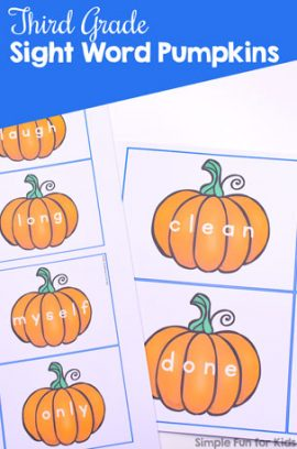Third Grade Sight Word Pumpkins Printable