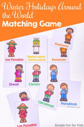 Winter Holidays Around the World Matching Game for Toddlers