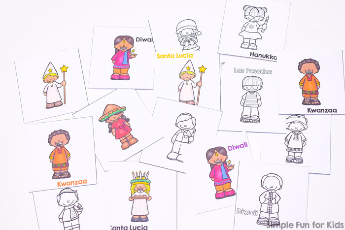 Learn about different religious winter holidays with this cute printable Winter Holidays Around the World Memory Game! Focuses on six different holidays: Hanukkah, Diwali, Kwanzaa, Las Posadas, Santa Lucia, and Christmas with one boy and one girl dressed up for each of them. The VIP version includes a total of six different versions, including three in b&w for saving on ink and/or coloring.