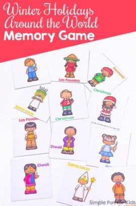 Winter Holidays Around the World Memory Game