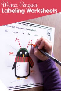 Winter Penguin Labeling Worksheets: Label the parts of the image by handwriting or cutting and pasting. Includes versions with and without a wordbank.