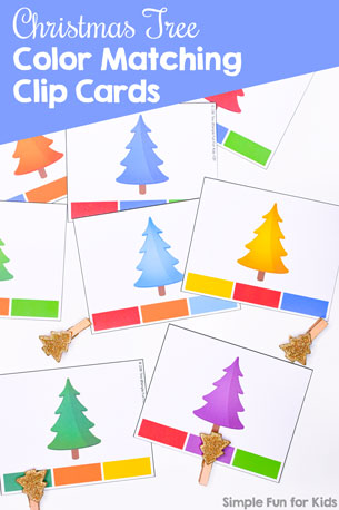 Practice colors and fine motor skills with these cute rainbow Christmas Tree Color Matching Clip Cards! Wonderful for preschoolers and toddlers learning their colors.