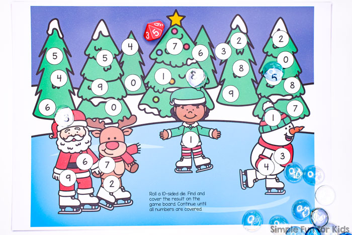 Kindergarteners and preschoolers can practice number recognition, taking turns, and fine motor skills with this super cute Christmas Wonderland Roll and Cover Game for use with a 10-sided die (D10).