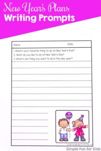 Write about plans for New Year's Eve, New Year's Day, and the New Year with this cute set of printable New Year's Plans Writing Prompts. No prep required, just print and write!
