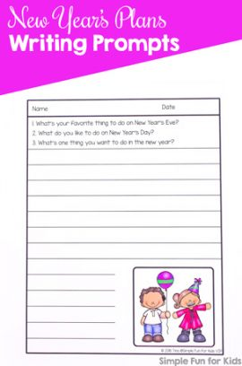 New Year's Plans Writing Prompts Printable