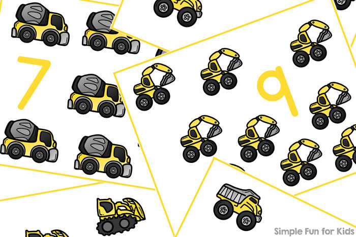 Learn to count with these cute printable Construction Vehicles Counting Cards! Perfect for starting with just a few numbers for toddlers and progressing to higher numbers with preschoolers.