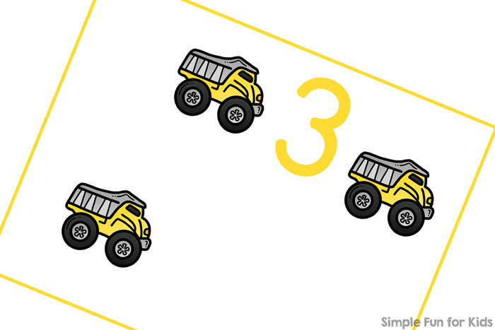 Construction Vehicles Counting Cards - Simple Fun for Kids