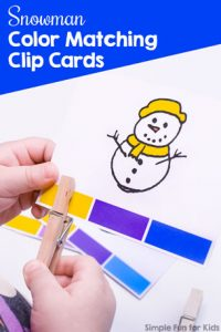 Practice colors with your toddlers or preschoolers and these cute Snowman Color Matching Clip Cards! Also great as a fine motor workout - what kid doesn't love clothespins?
