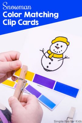 Snowman Color Matching Clip Cards