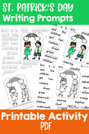 Cute writing prompts with different levels of support for early writers: St. Patrick's Day Writing Prompts for Kindergarteners! (Day 7 of the 7 Days of St. Patrick's Day Printables for Kids series.)