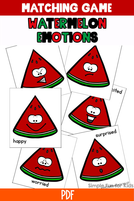 Have fun exploring and discussing basic emotions with toddlers and preschoolers with this cute printable Watermelon Emotions Matching Game. Can be played on different levels, from absolute beginners to full memory games.