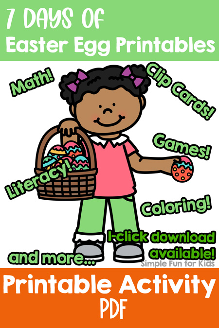 Follow along with the 7 Days of Easter Egg Printables for Kids series! Perfect for Easter or any time of the year, includes material for toddlers, preschoolers, and kindergarteners covering literacy, math, fine motor objectives, and more.