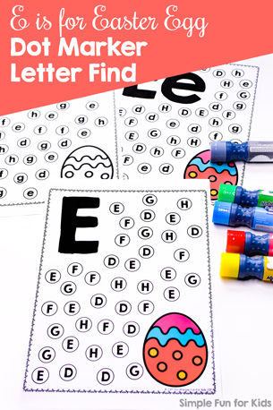 Learn to recognize letter E with this cute, simple, no prep E is for Easter Egg Dot Marker Letter Find. Perfect for toddlers, preschoolers, and kindergarteners who are learning to read.