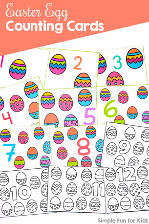 Practice numbers, counting to 12, 1:1 correspondence, and more with these printable Easter Egg Counting Cards 1-12. Perfect for preschoolers, toddlers, and kindergarteners. Available in 3 fonts, color, and b&w.