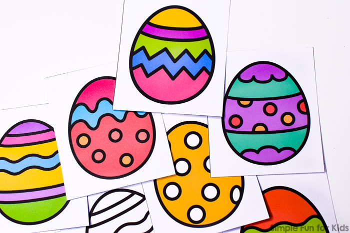 Another awesome simple matching game perfect for little hands and minds: Printable Easter Egg Matching Game for Toddlers. Available in color and black and white. Part of the 7 Days of Easter Egg Printables for Kids.