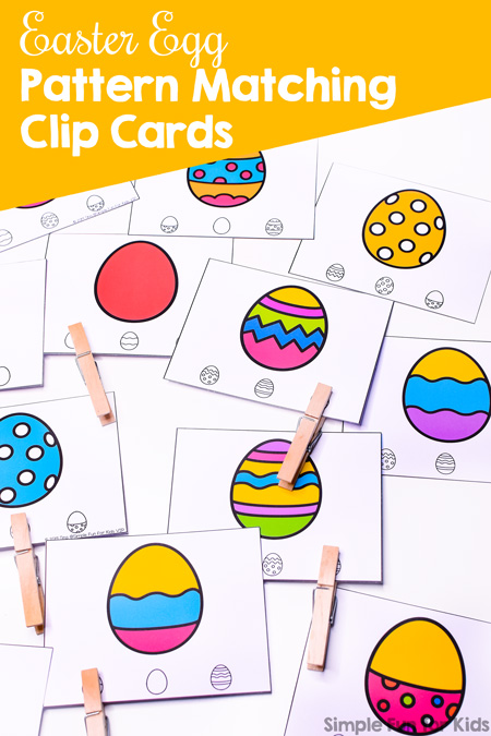 Practice matching the interesting patterns and colors of the Easter eggs with these printable Easter Egg Pattern Matching Clip Cards. Perfect for preschool and kindergarten.