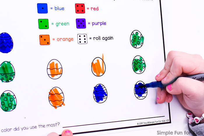 No prep printable for preschoolers and kindergarteners practicing numbers, colors, color names, and more: Easter Egg Roll and Color Worksheet. Includes different versions for different colors.