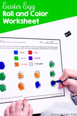 Easter Egg Roll and Color Worksheet