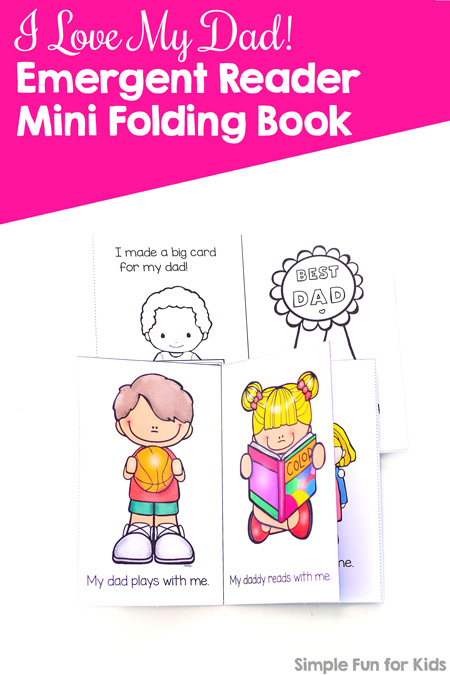 Pinnable image for printable I Love My Dad Emergent Reader Mini Folding Book.