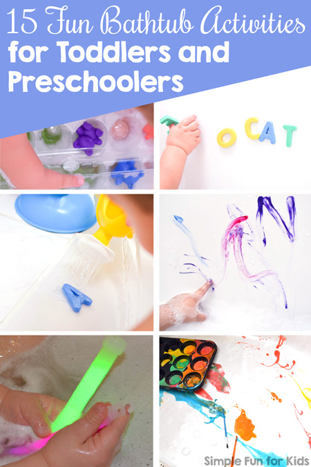 Pinnable image: Use bathtime for simple activities that teach colors, letters, or are just plain fun: 15 Fun Bathtub Activities for Toddlers and Preschoolers