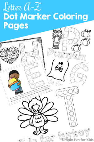 Learn to read and write all of the letters of the alphabet with fun, simple, no-prep Letter A-Z Dot Marker Coloring Pages! Perfect for toddlers, preschoolers, and kindergarteners who can benefit from the different parts that make up each page.