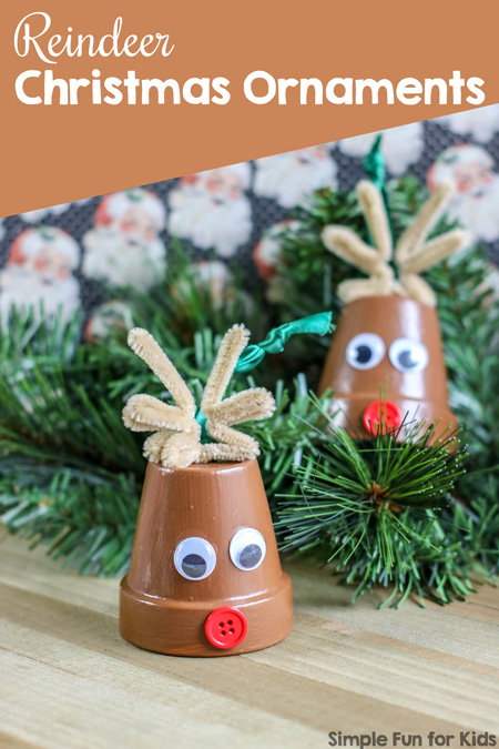 Isn't this Reindeer Terra Cotta Pot Christmas Ornament the cutest thing you've seen this week? Easy to make with kids of all ages and a great eyecatcher on the Christmas tree!